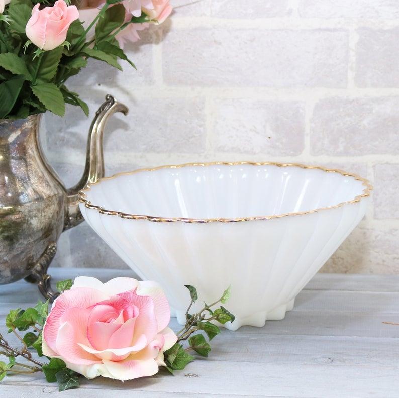 Anchor White Golden Shell large milk glass bowl