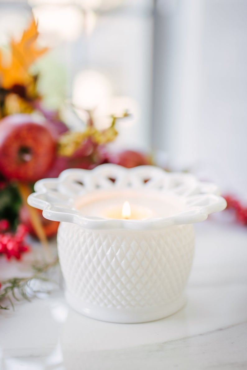 lit Soy Candle in Vintage white Milk Glass Vase