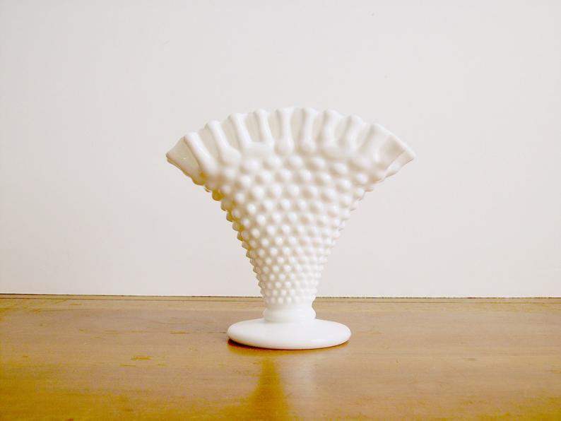 Fenton Milk Glass Ruffled Hobnail Fan Vase