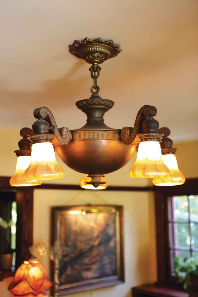1901 signed Quezal brass ceiling lamp