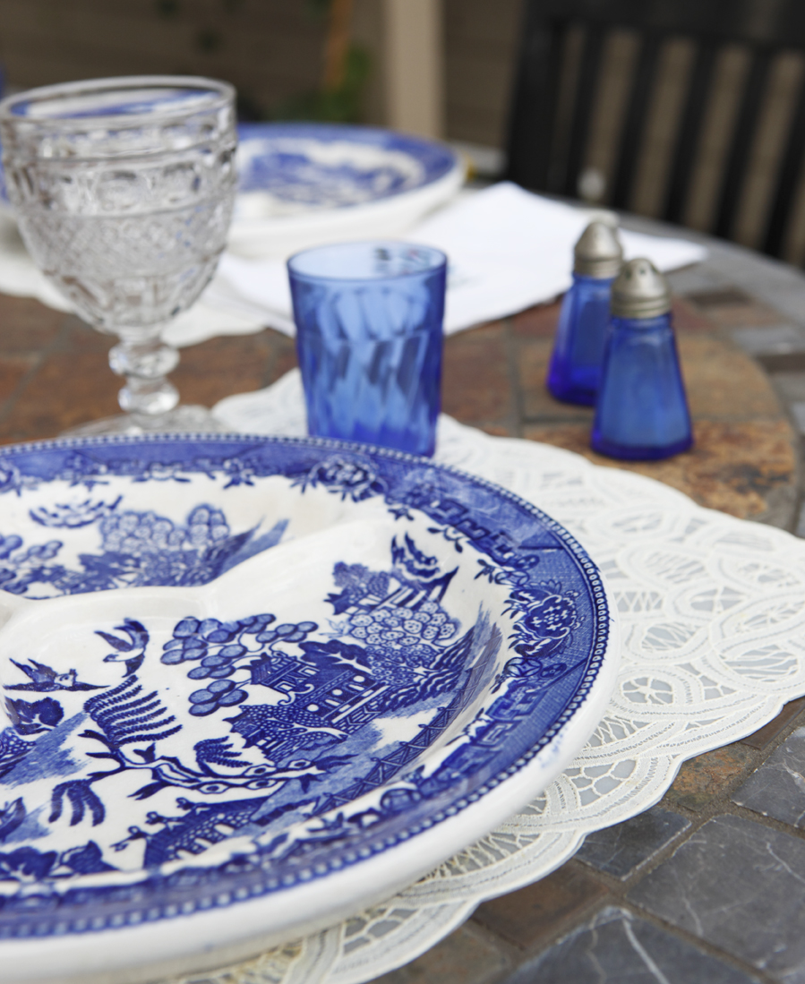 Blue and white china and crystal glasses