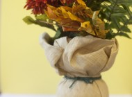 Rustic, charming and unexpected. Create a new look for your vase to highlight the colorful fall florals.
