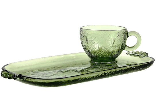 Green Glass Cup and Rectangle Plate, Hazel Atlas Pebbletone Snack Set 1956