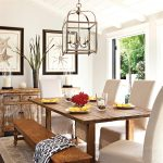 Cottage dining room with farmhouse table and transitional patriotic decor