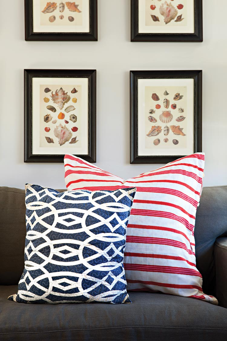 ed and blue patterned throw pillows for patriotic Fourth of July decor
