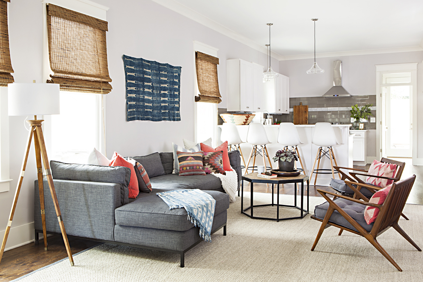 Modern cottage living room with vintage textiles