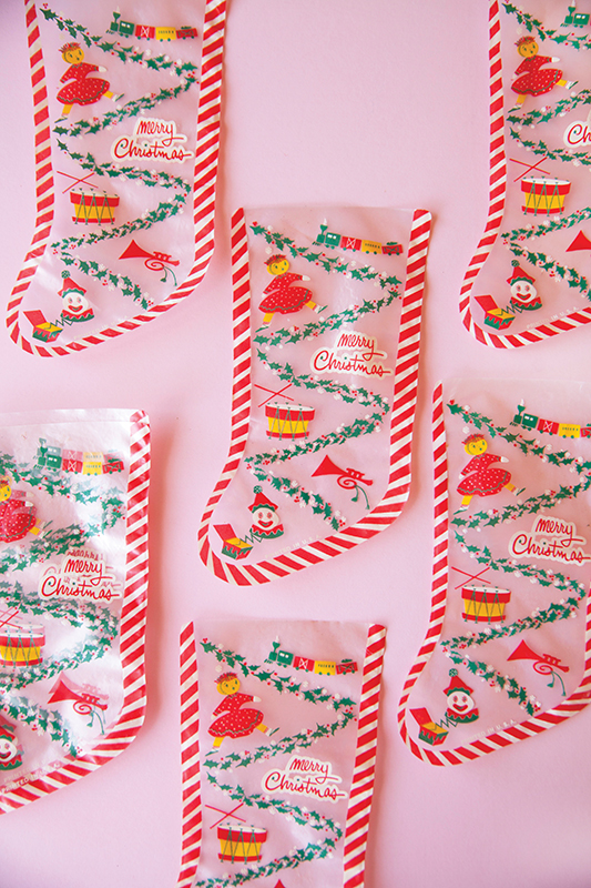 Vintage holiday cellophane bags—perfect to use for goodie bags during the season.