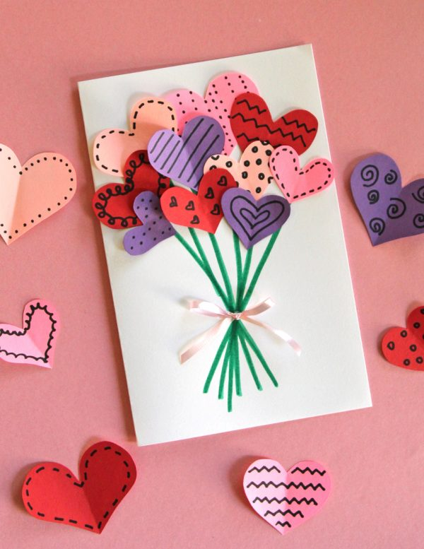 paper hearts DIY valentines day card