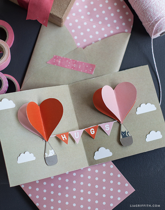 DIY heart hot air balloons valentines day card