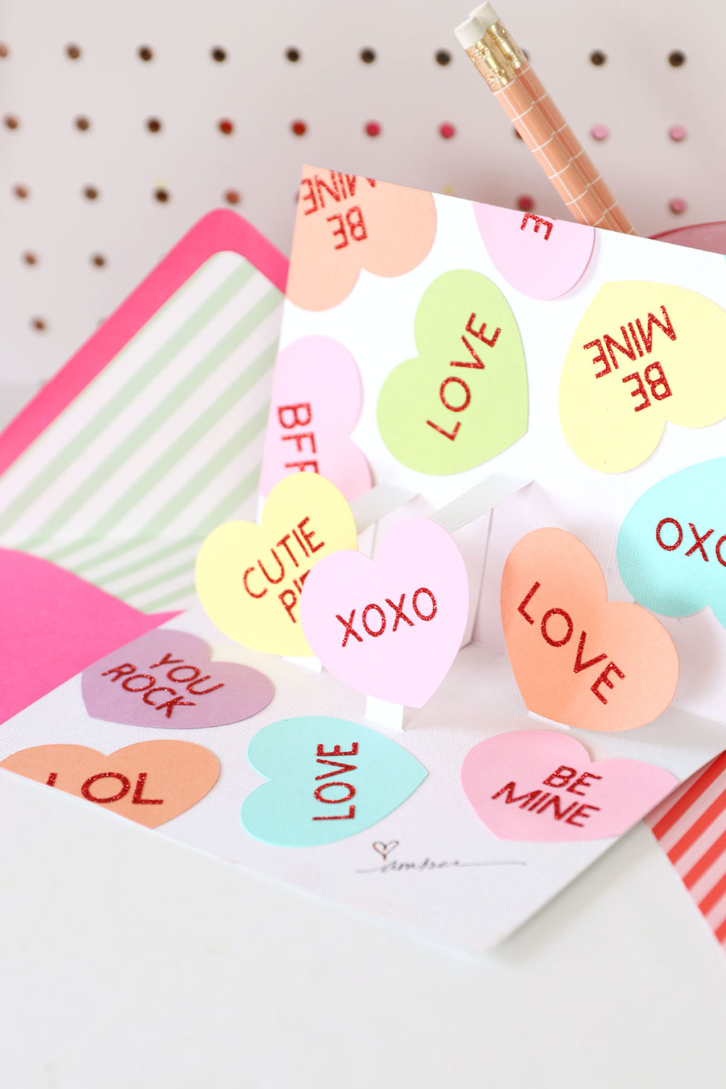 DIY candy hearts pop up card