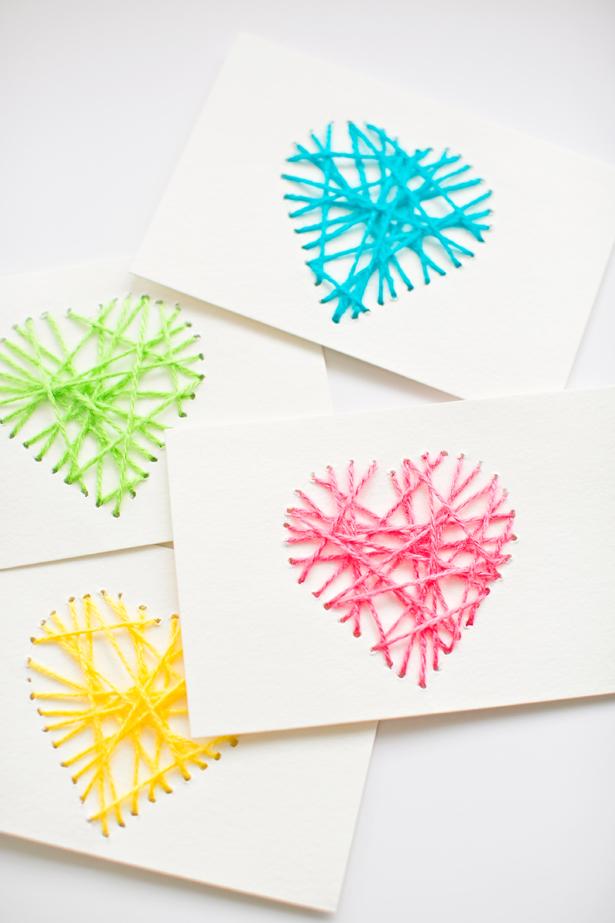 string heart art DIY valentine
