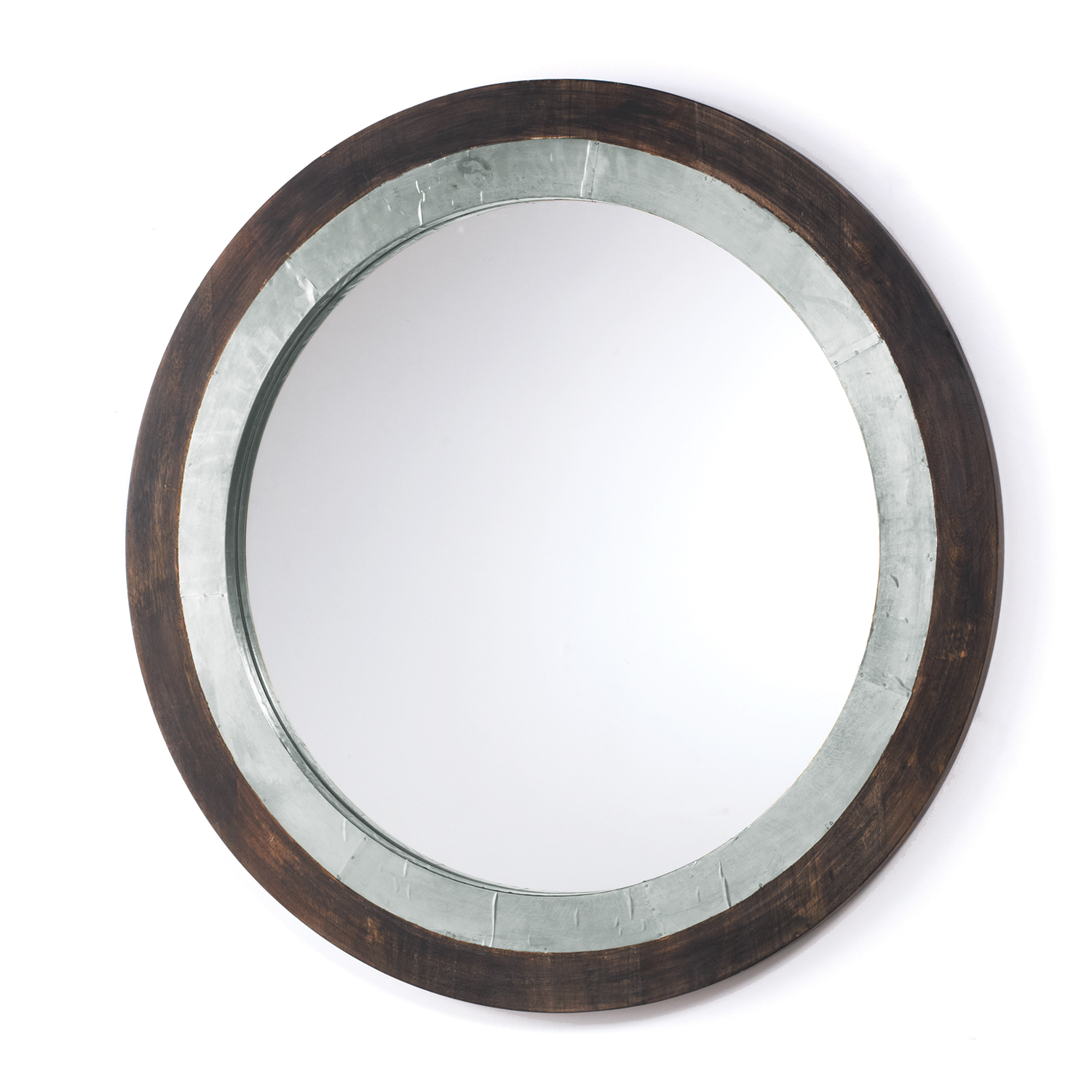 grey washed wood and aluminum mirror