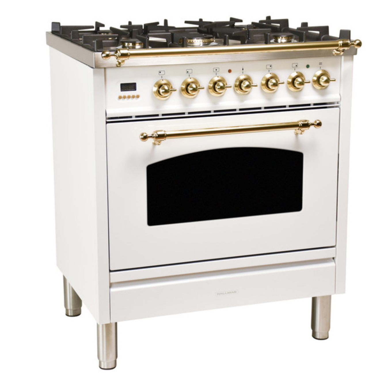 Euro-style oven and range in white with gold hardware