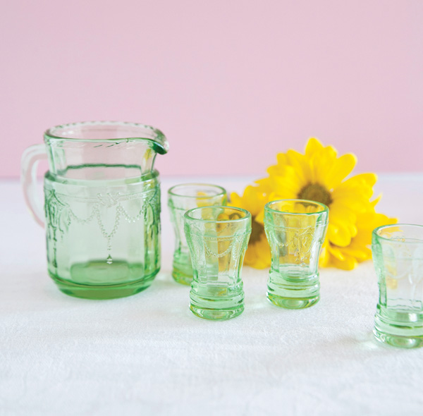 Green Depression Glass Children's Set