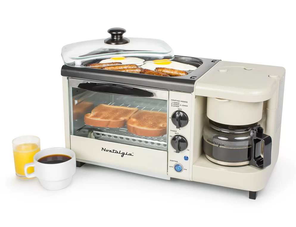 Nostalgia breakfast station with toaster oven, griddle and coffee pot.
