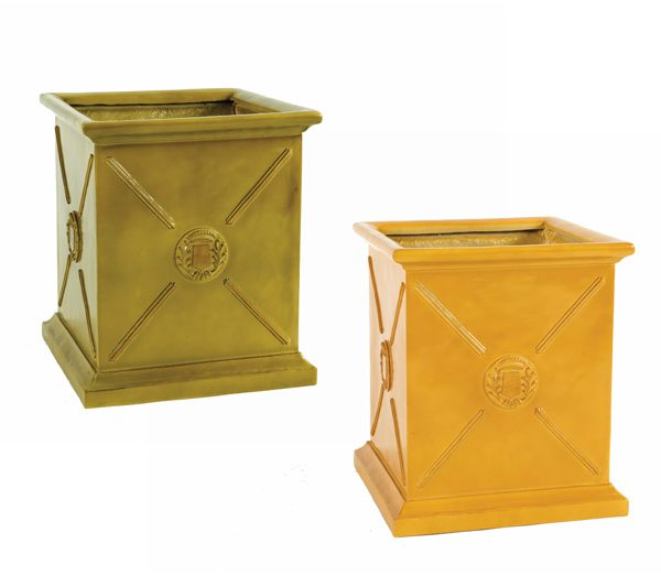 blue and mustard square european-style planters with a medallion detail in the center of each side.