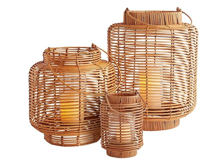 spring patio updates with a set of rattan outdoor round lanters