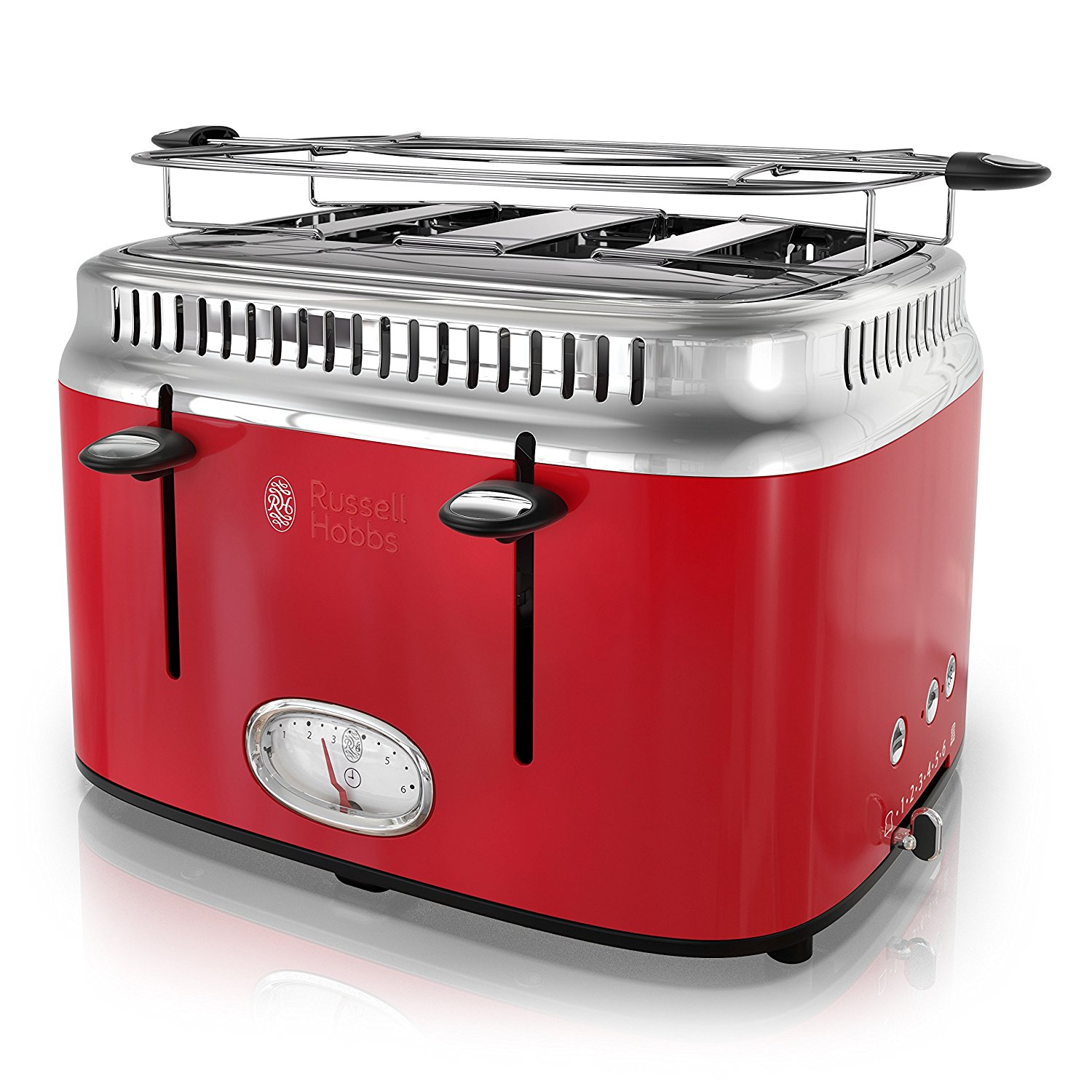 Red Russell Hobbs retro toaster oven.