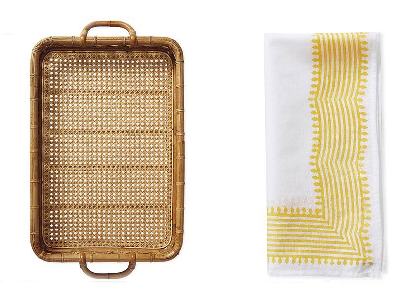 rattan tray and yellow and white linen napkin -- update your spring patio