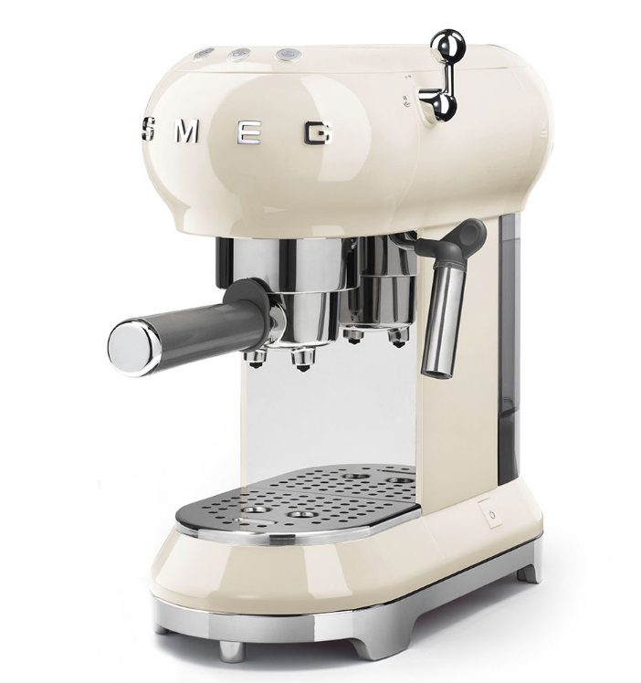 Smeg morning brew espresso coffee machine in cream with metallic accents