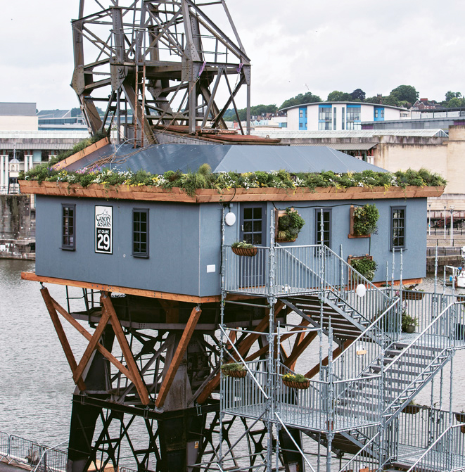 Blue Treehouse over water
