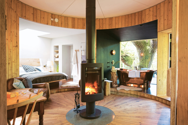 Open floor plan with fireplace in treehouse