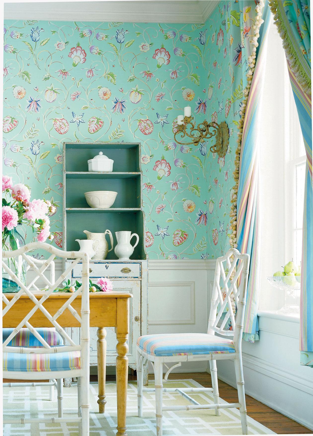 bright colored floral wallpaper