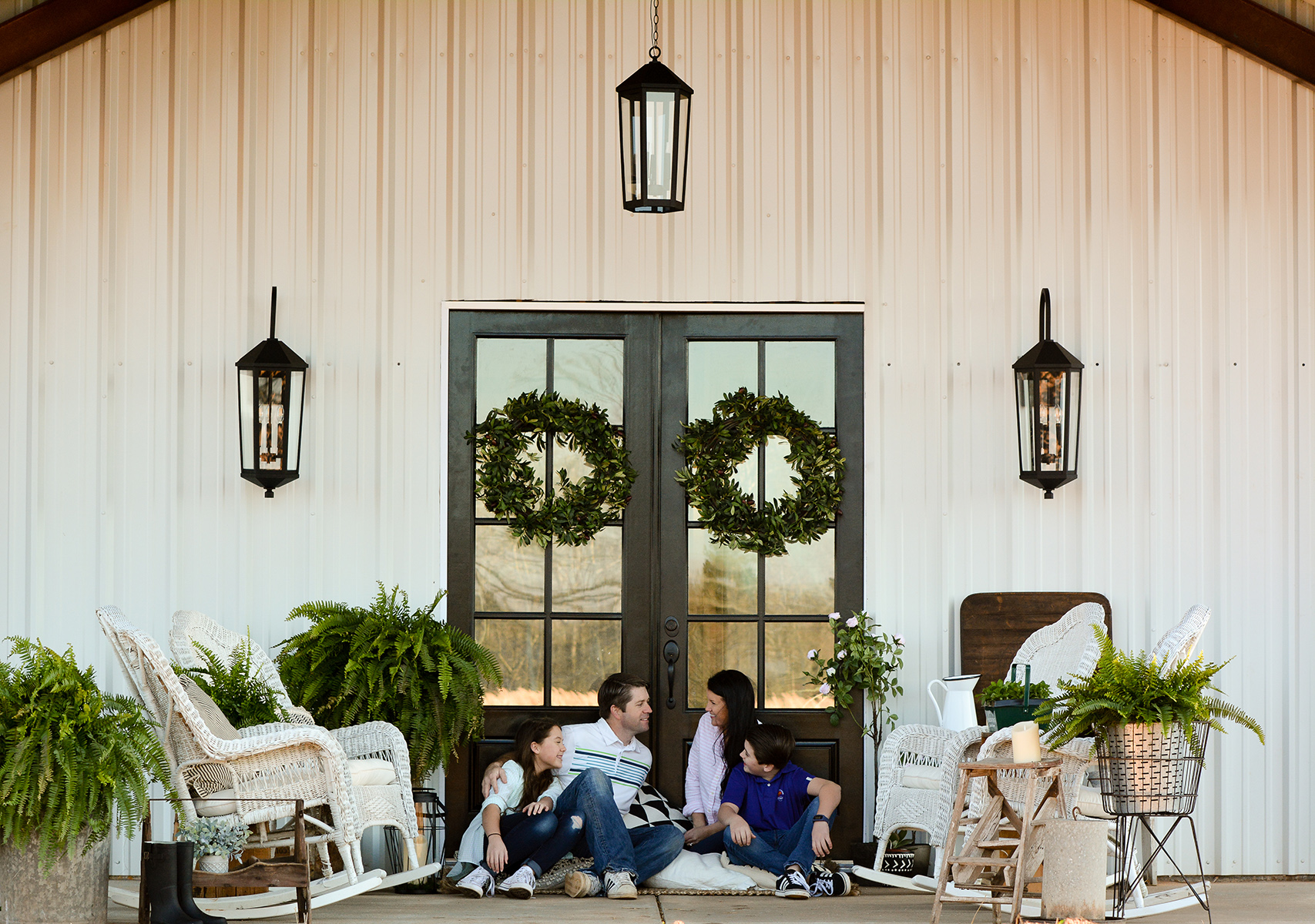 Porch Light Fixtures and White Farmhouse Home