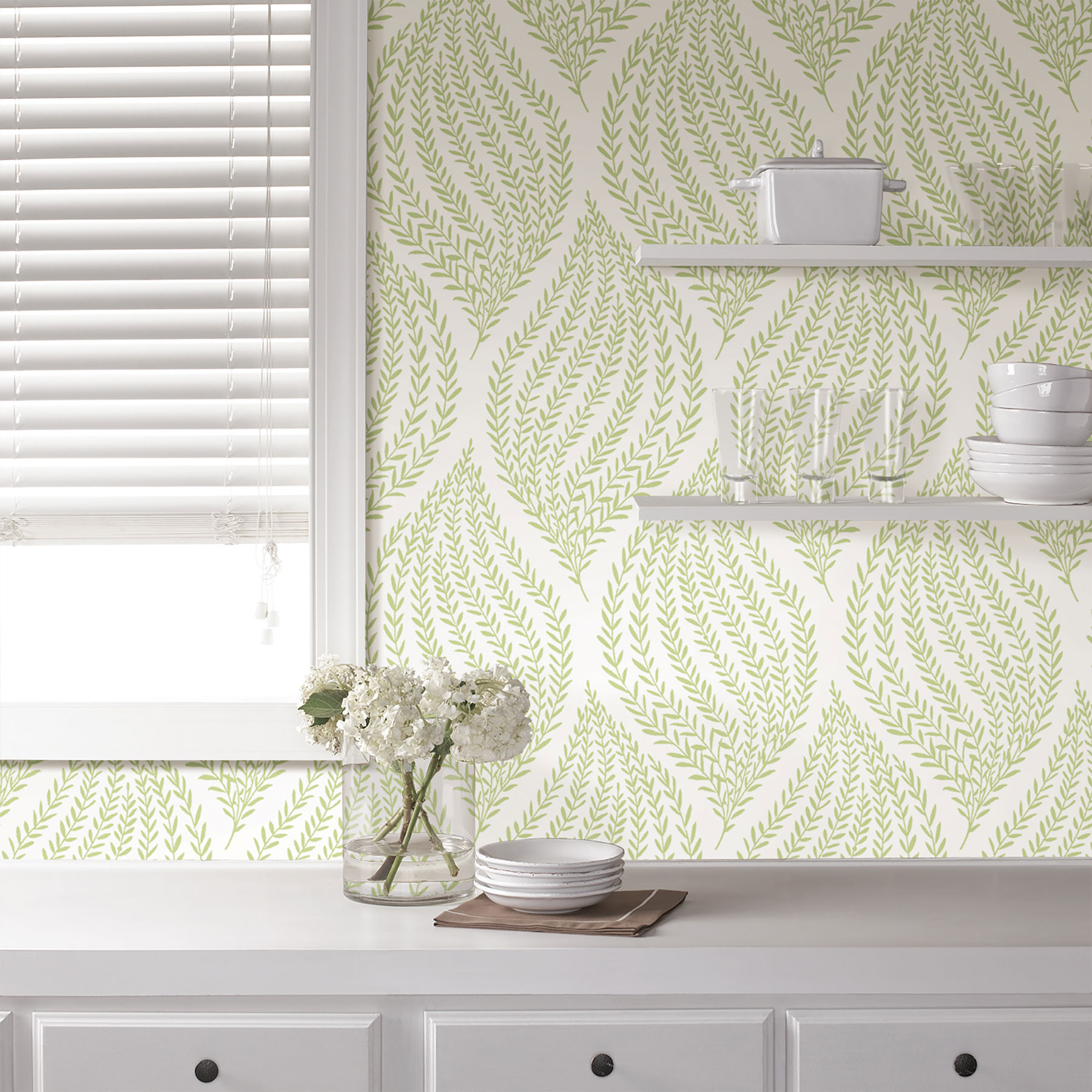 green earthy patterned wallpaper