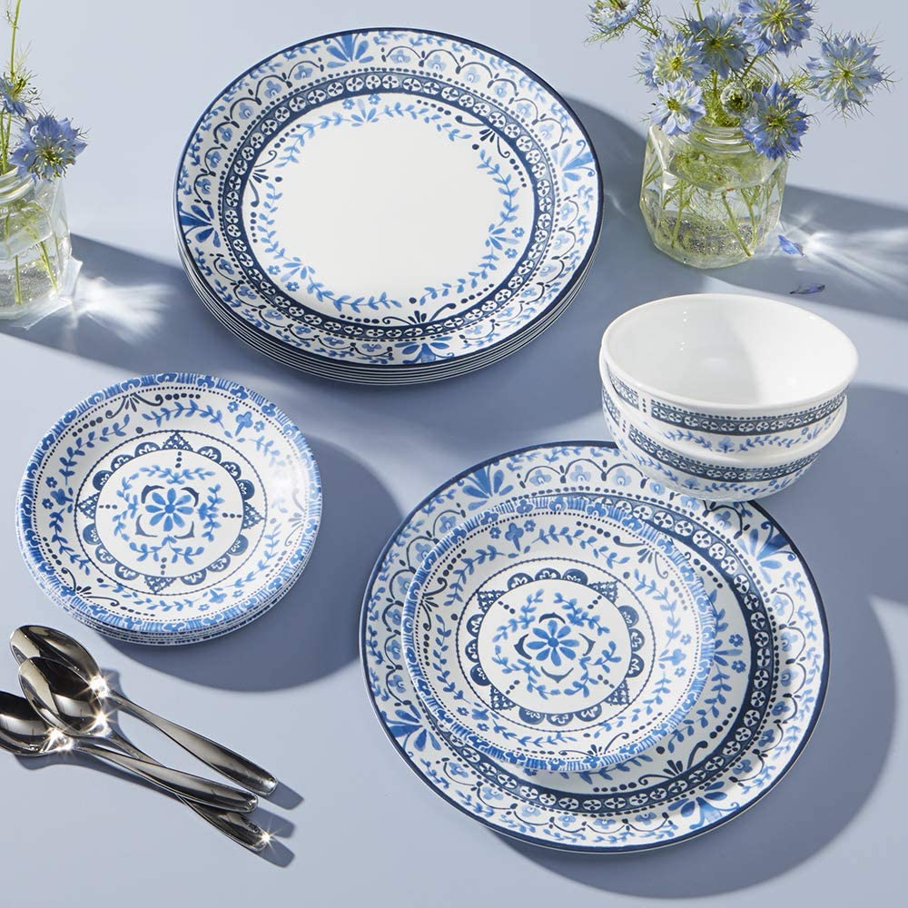 blue and white circular provence inspired melamine dinner set for outdoor use are summer bbq necessities