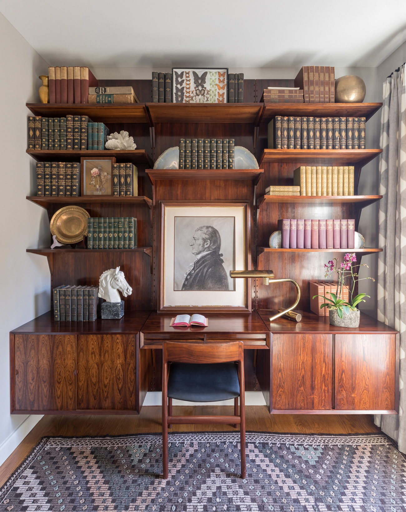 Old fashioned book shelves
