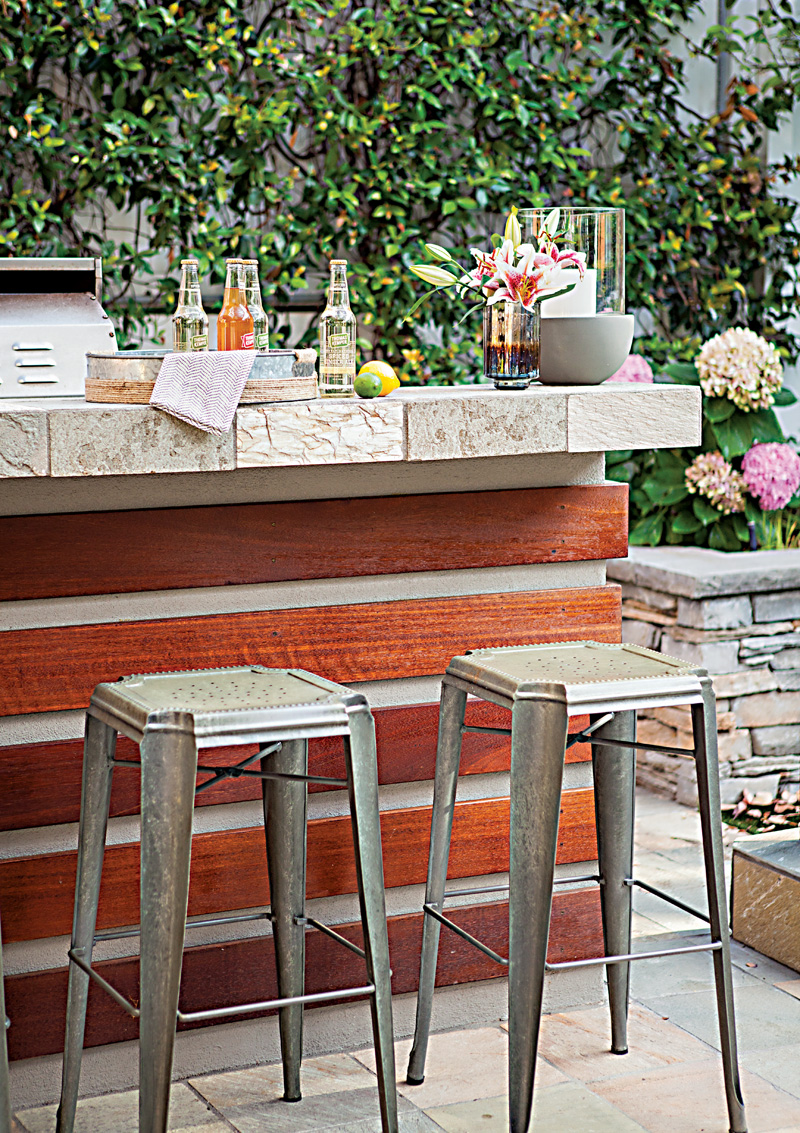 Patio bar with wood beams and large tile countertop