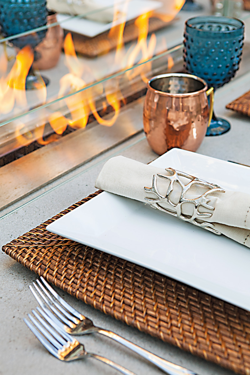 fire table details and dinnerware set up
