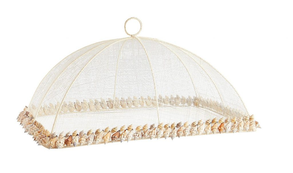 mesh food cover with seashell trim