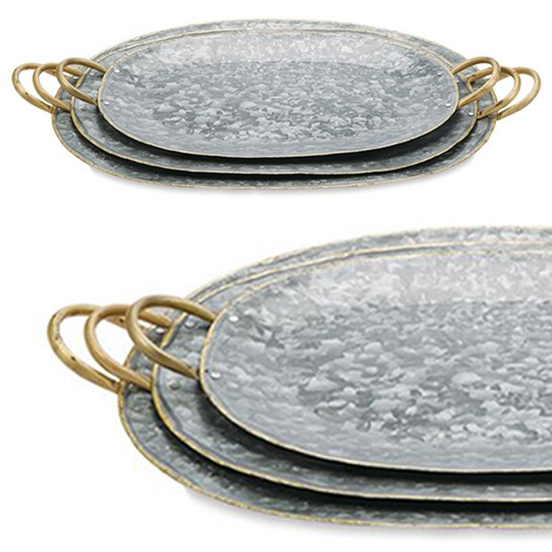 galvanized oval serving tray set for summer bbq 's