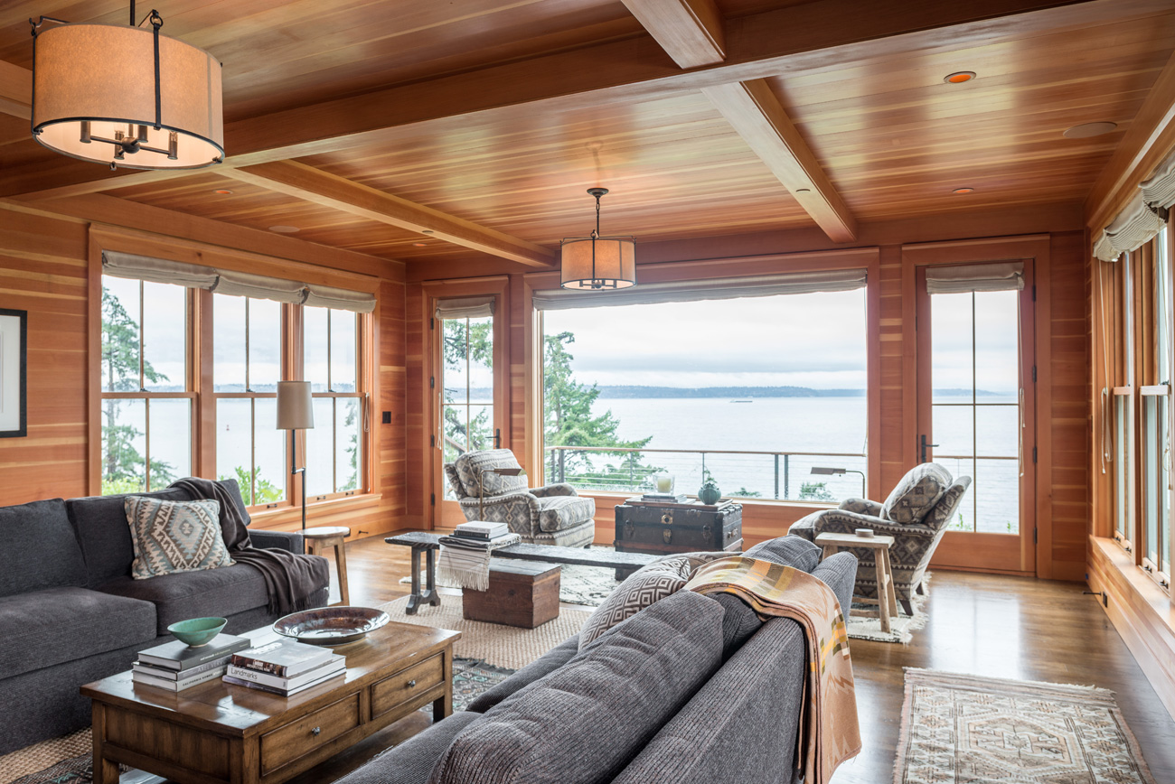 Wide open great room with large window in Bainbridge Island cottage