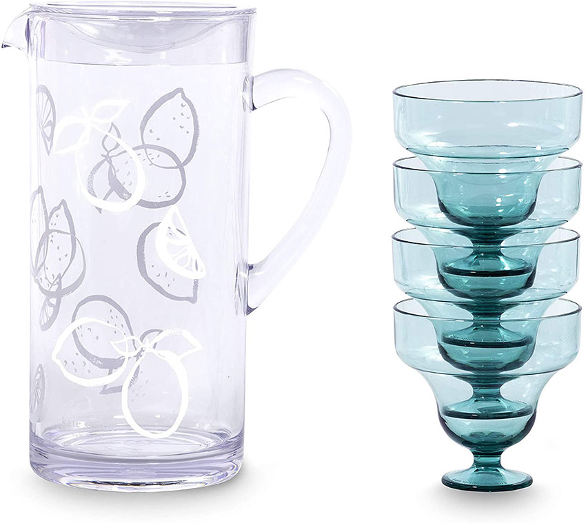 kate spade pitcher set with white lemon design on the pitcher and smokey aqua colored footed glasses