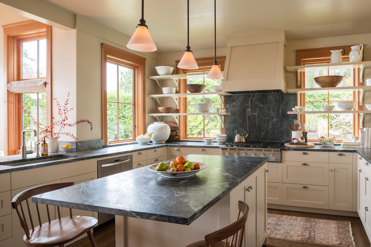 Gray granite countertops in Bainbridge Island cottage