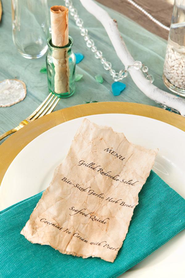 Ocean inspired seaside dinner party menu