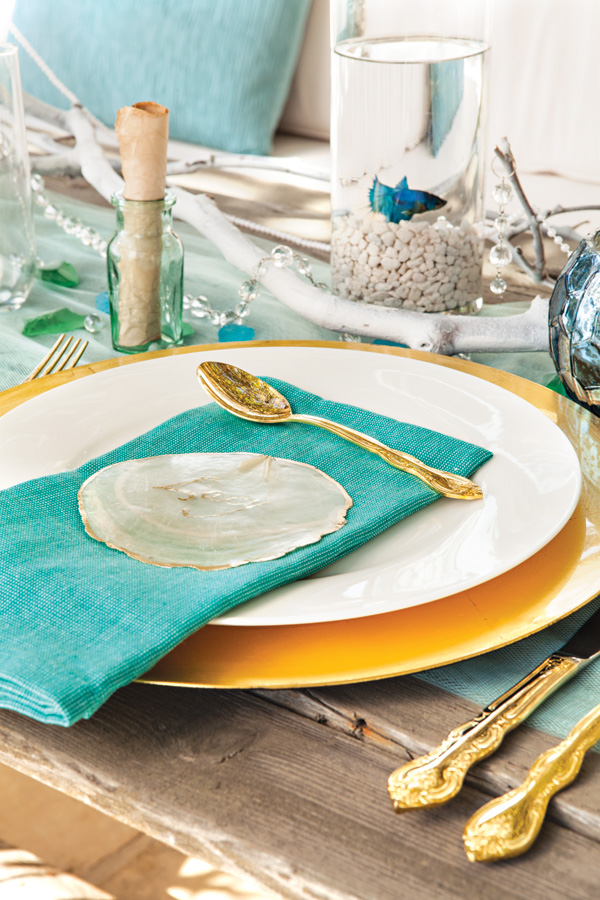Place setting for seaside dinner party