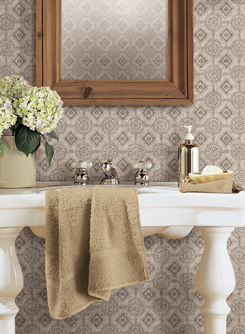 Punched tin style bathroom wallpaper