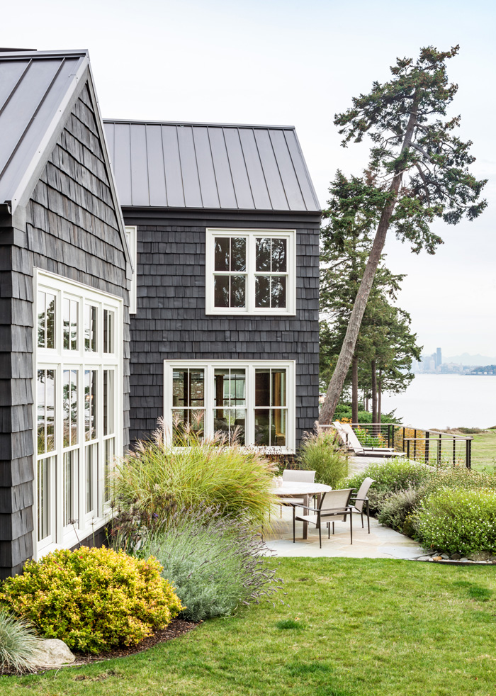 Side patio with water view of Bainbridge Island cottage