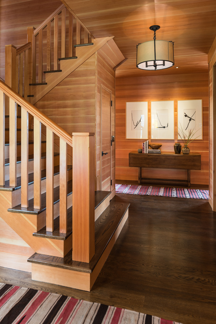Wood staircase in Bainbridge Island cottage