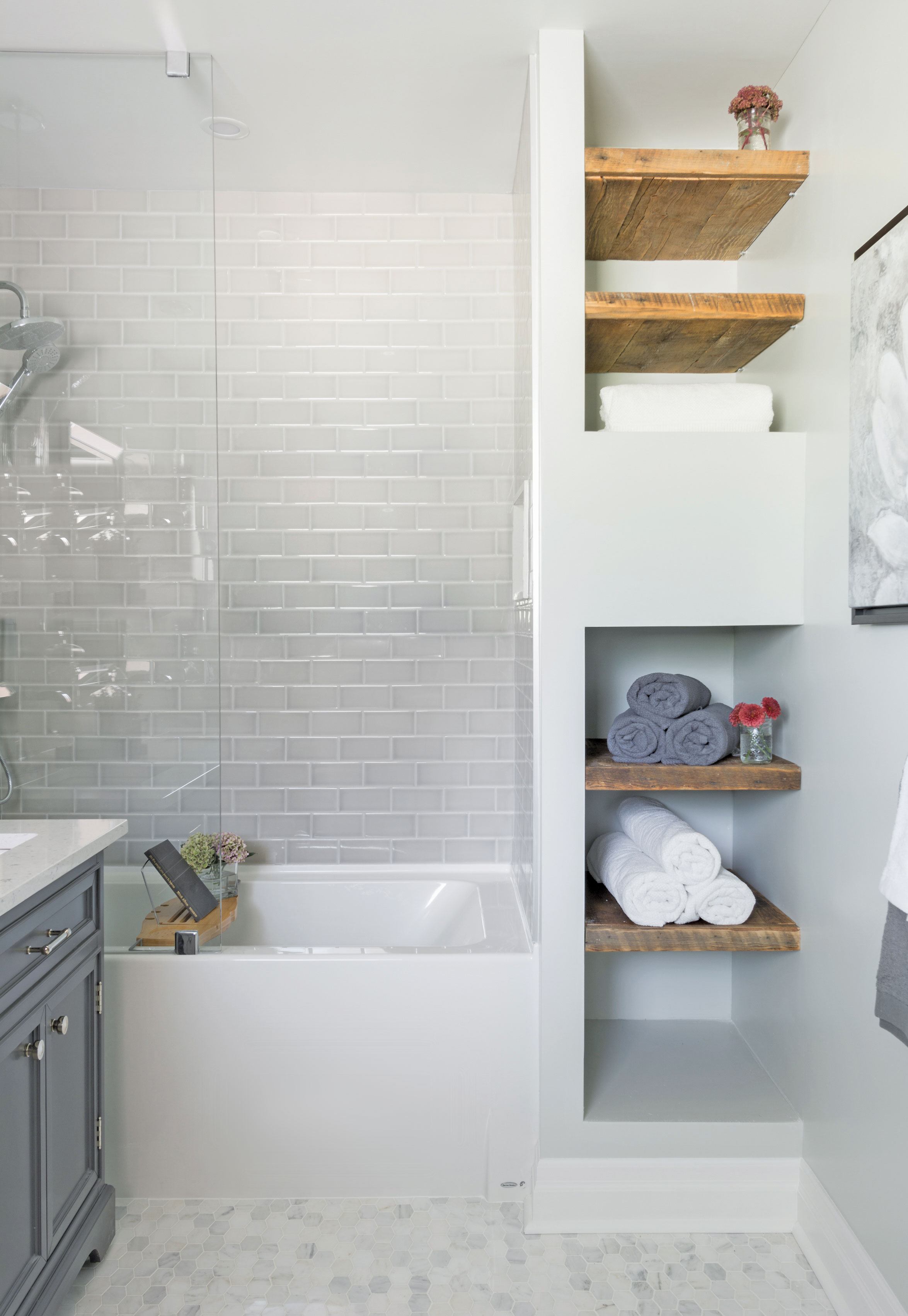 Gray shower tiles