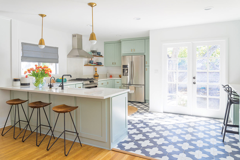 Small Los Angeles kitchen with bright accents