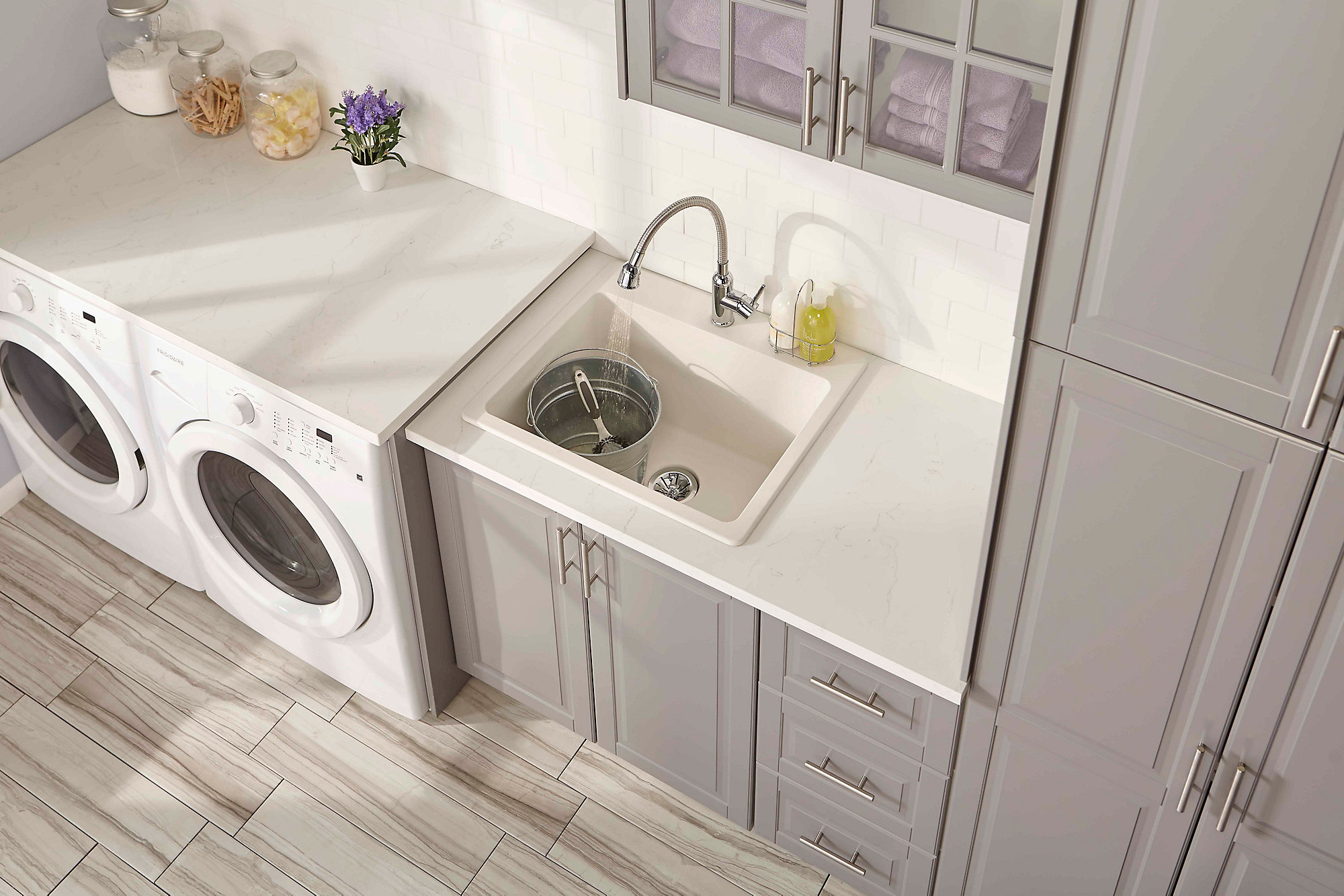 The Quartz Classic® Single Bowl Laundry Sink with Perfect Drain, shown here, is extra deep and chip-resistant.