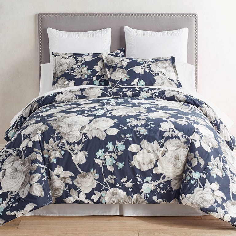 navy blue bedding set for a summer linen option with big gray roses on the pattern