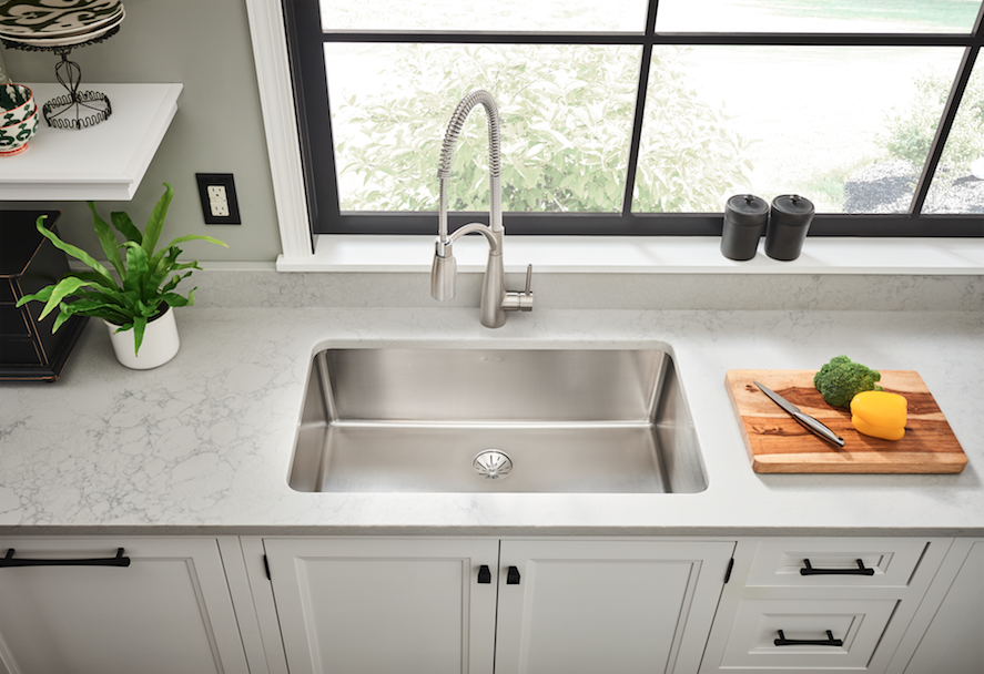 The Elkay Iconix Stainless Steel Sink with Perfect Drain has a clean and modern look, with a scratch-resistant finish and edgeless drain design.