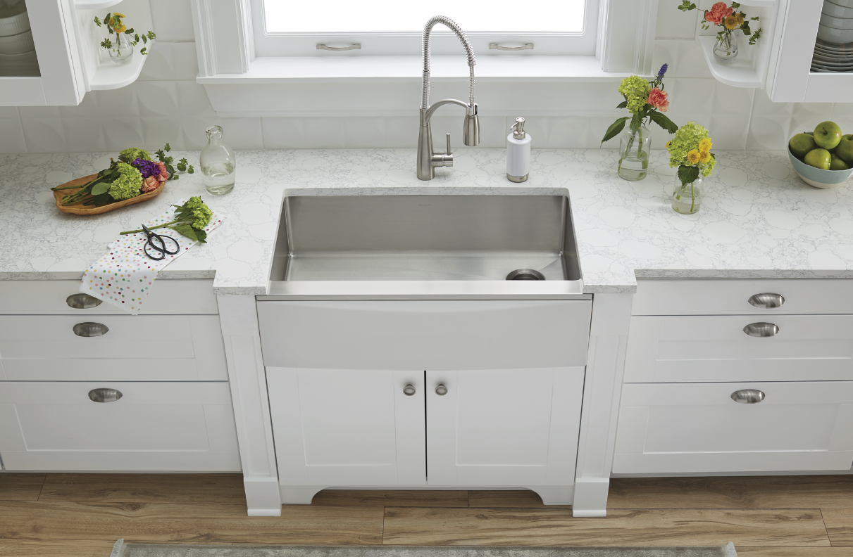 The Elkay® Crosstown® Stainless Steel Farmhouse Sink with Interchangeable Apron. The apron switches out in minutes and is available in seven colors and materials.