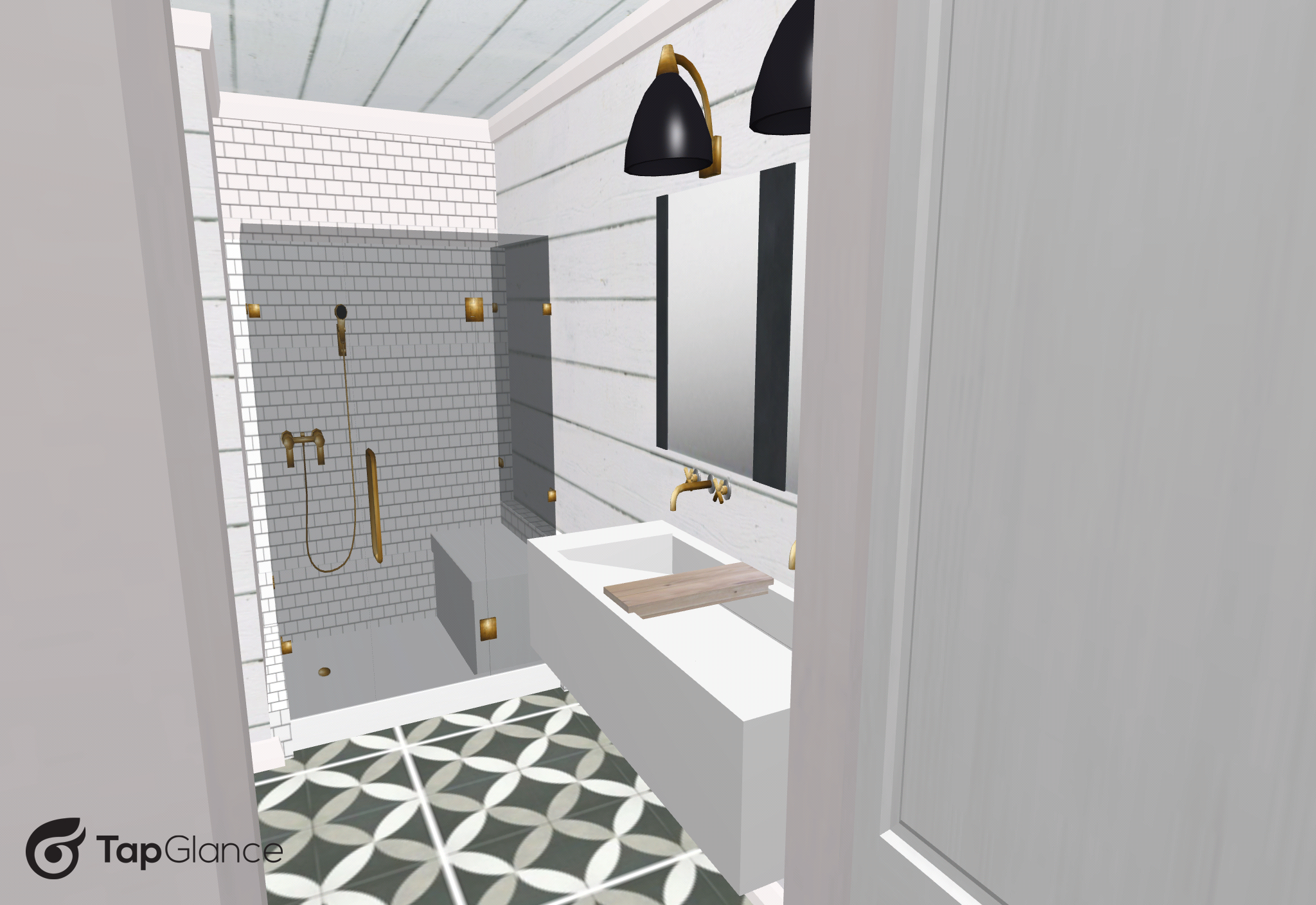 This walk-in shower, once it's completed, will have shiplap on one wall, and subway tile on the other two along with a built-in bench.